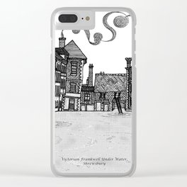 Victorian Frankwell Under Water, black and white Clear iPhone Case