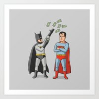 superheros Art Prints featuring Super Rich by Ian Byers