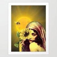 sunflower Art Prints featuring SUNFLOWER by Julia Lillard Art