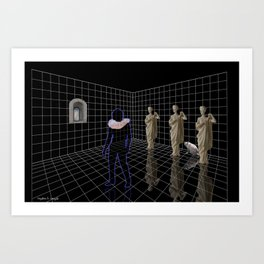 Man in a room with statues and cats Art Print