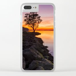 Red sunset at Lima river in Portugal Clear iPhone Case