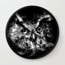 owl perfect black white Wall Clock