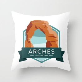 Arches National Park Graphic Badge Throw Pillow