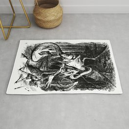 Jabberwocky Illustration from Alice in Wonderland Transparent Background Rug