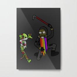 Zombie Chase Metal Print