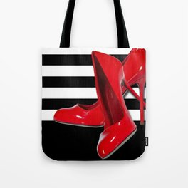 Red Stilettos High Heel Pumps With Stripes Tote Bag