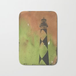 Cape Lookout lighthouse on the Outer Banks, North Carolina.  Watercolor painting Bath Mat