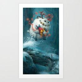 Christmas Yeti Art Print