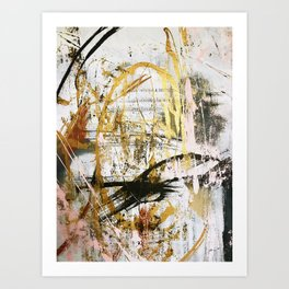 Armor [9]:a bright, interesting abstract piece in gold, pink, black and white Art Print