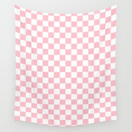 Small Checkered - White and Pink Wall Tapestry