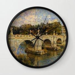 French Impressionistic Arched Bridge Wall Clock