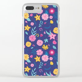 Modern dark slate blue neon pink yellow floral Clear iPhone Case