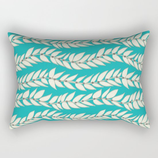 Leaf Dot Stripe Teal Rectangular Pillow
