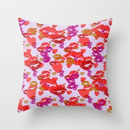 Hearts and Kisses Throw Pillow