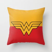 dc comics Throw Pillows featuring Wonder Logo Woman Minimalist Art Print DC Comics by The Retro Inc