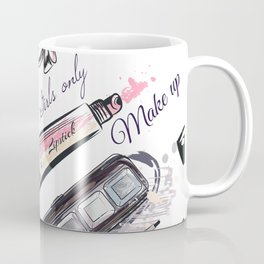 Fashion pattern with cosmetic in watercolor style Coffee Mug