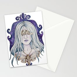 Gothic watercolor universe moth woman Stationery Cards