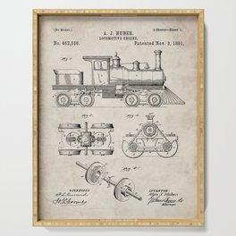 Train Locomotive Patent - Steam Train Art - Antique Serving Tray