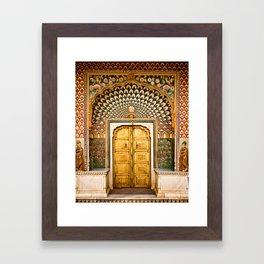 Lotus gate door in pink city at City Palace of Jaipur, India Framed Art Print