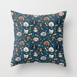 puppy party repeating pattern Throw Pillow