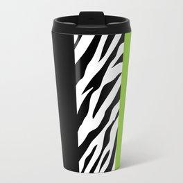 Animal Print, Zebra Stripes, Leopard Spots - Green Travel Mug
