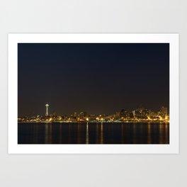 The Seattle, Washington skyline at night Art Print
