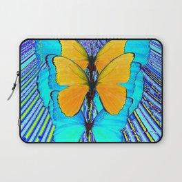 CONTEMPORARY BLUE & YELLOW BUTTERFLIES GRAPHIC ART Laptop Sleeve