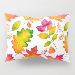 Fall Leaves Watercolor - White Pillow Sham
