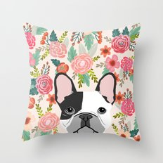 French Bulldog florals cute spring summer dog gifts bright happy frenchie puppy dog portraits  Throw Pillow