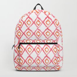 Fiery Coral - aztec watercolour pattern Backpack