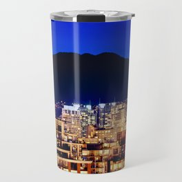 Blue Twilight Sky - Shangri La Hotel and Vancouver Grouse Mountain British Columbia Canada Travel Travel Mug