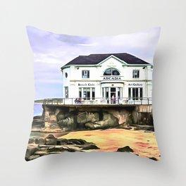 The Arcadia, Portrush, Ireland. (Painting.) Throw Pillow
