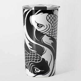 White and Black Yin Yang Koi Fish Travel Mug