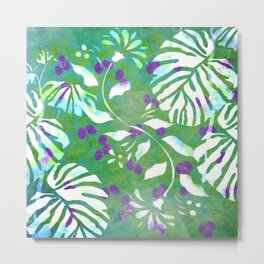 Tropical Flowers and Leaves Abstract  Metal Print