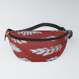 White leaves on red Fanny Pack
