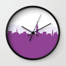 New purple town : Illustration art Wall Clock