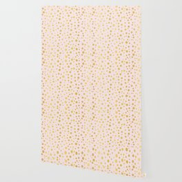 Luxe Rose Gold Polka Dots Pattern Seamless Vector, Drawn Metallic Wallpaper