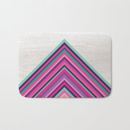 Wood and Bright Stripes, Chevron - Geometric Design Bath Mat