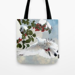 White Dove and Holly Tote Bag