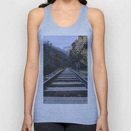 Old mountain train station. Abandoned project Unisex Tank Top