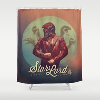 star lord Shower Curtains featuring Star Lord and the Raptor 4 by Brandi Kenney