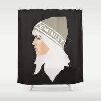 feminist Shower Curtains featuring Feminist (Silver) by Anna McKay