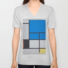 Piet Mondrian - Composition with Large Blue Plane, Red, Black, Yellow, and Gray Unisex V-Neck