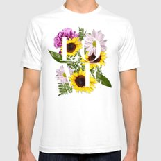 Love in Flowers White SMALL Mens Fitted Tee