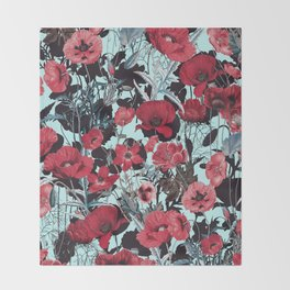 Poppy Floral Pattern Throw Blanket