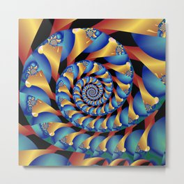Archimedes' Blue & Gold Tangent Metal Print