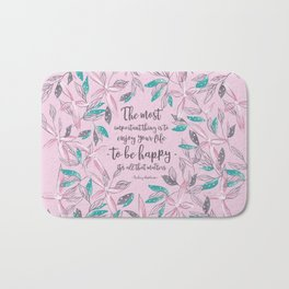 Flower of a brush touch design illustration / Pink Bath Mat
