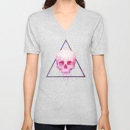 Skull in triangle on black Unisex V-Neck