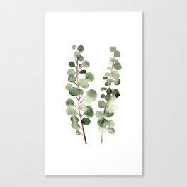 Eucalyptus (watercolor finger painting) Canvas Print