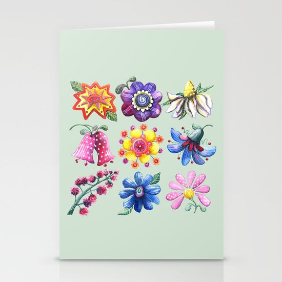 Pretty Flowers All in a Row Green Stationery Cards